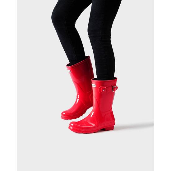 Hunter Original Short Gloss Rain Boots Women BRIGHT CORAL ...